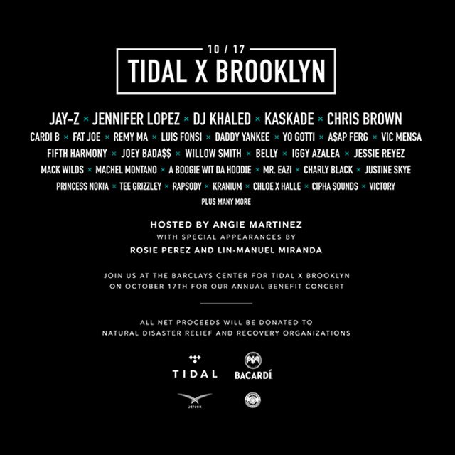 Get your tix to @TIDALHiFi's #TIDALXBrooklyn & support those affected by natural disasters: https://t.co/rsnzCtTwdh https://t.co/mB9IbneU8c