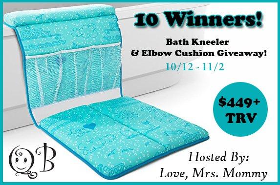 10 Winner QueBébé Bath Kneeler and Elbow Cushion Giveaway! $449.50 TRV!