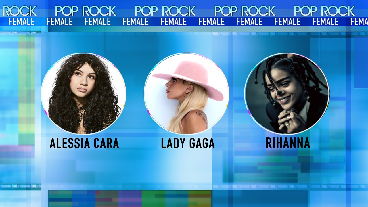 Nominees for @AMAs Best Female Pop/Rock Artist: - @alessiacara  - @ladygaga  - @rihanna  #AMAs https://t.co/3eKklDrZrj