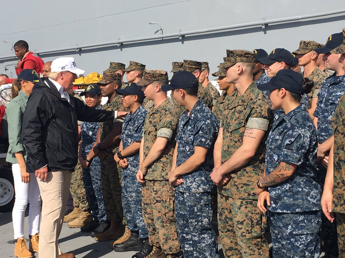 RT @PressSec: .@POTUS and @FLOTUS meet w/ some of America's finest on the USS Kearsarge off the coast of PR. https://t.co/sR3Jd6rvNK