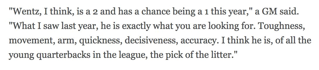 Nothing quite like a good cherry-picked Wentz quote from 2017 QB Tiers project (in). https://t.co/uTye1xEjml https://t.co/HEhOvICYtu