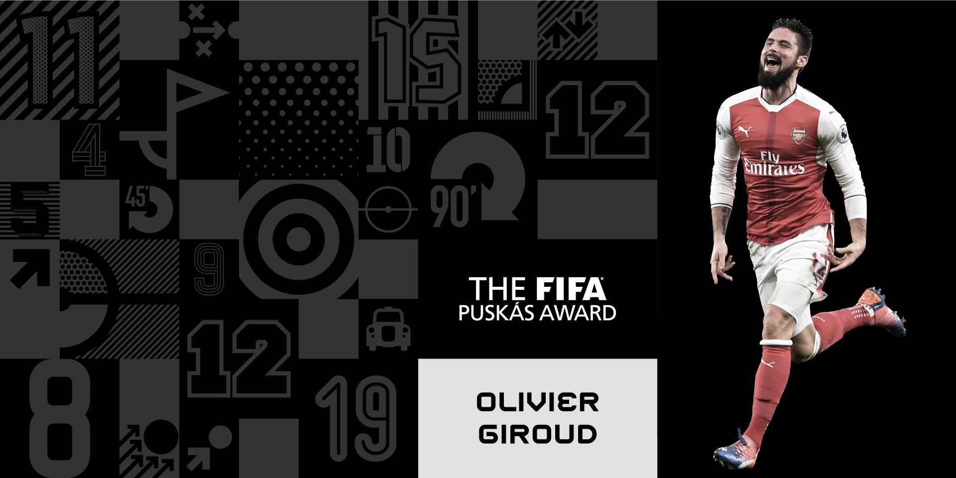 Congratulations, ����@_OlivierGiroud_! �� The Frenchman's scorpion kick wins the FIFA #Puskás Award 2017 ���� #TheBest https://t.co/xA69neDfoO
