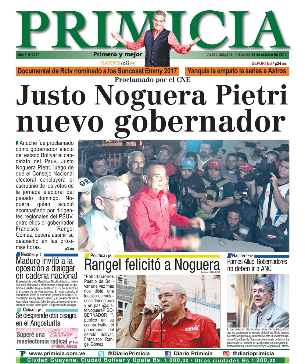 RT @DiarioPrimicia: Buenos días tenga todos, les deseamos un excelente miércoles. Acá nuestra portada de este #18Oct https://t.co/mKPGxWogdK