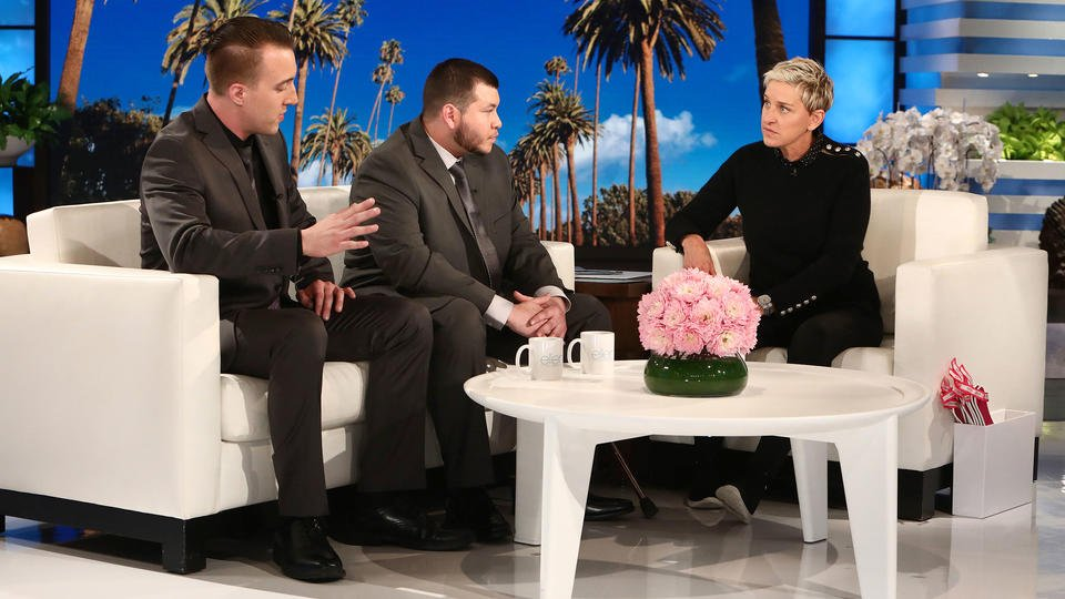 Las Vegas shooting survivor, heroic security guard break silence on Ellen