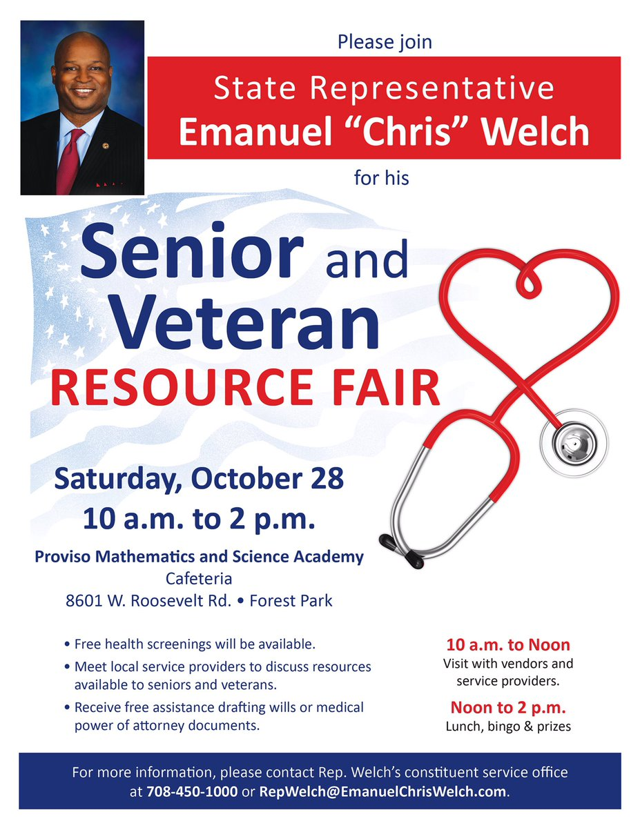 test Twitter Media - All Seniors and Veterans are invited to our Annual Resource Fair and Luncheon on October 28, 2017 at the Proviso Math and Science Academy. https://t.co/V8Js5iKKrM