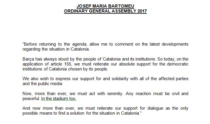 Statement by president @jmbartomeu at the Delegate Assembly, regarding developments in the situation in Catalonia https://t.co/6xQOsKCjCr