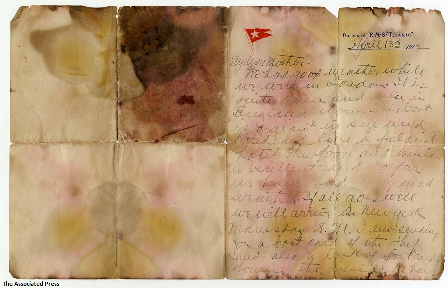 Letter written by one of the Titanic's passengers a day before the ocean liner sank sells for $166,000 at auction. https://t.co/HHaqNCaBkS https://t.co/AhUmYcc0kB