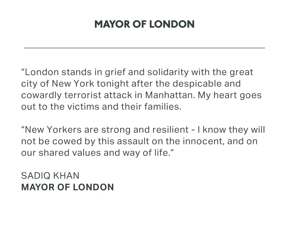 London stands in grief and solidarity with the great city of New York tonight. https://t.co/RWn9gCAFgc https://t.co/Pa4pBJrqs9