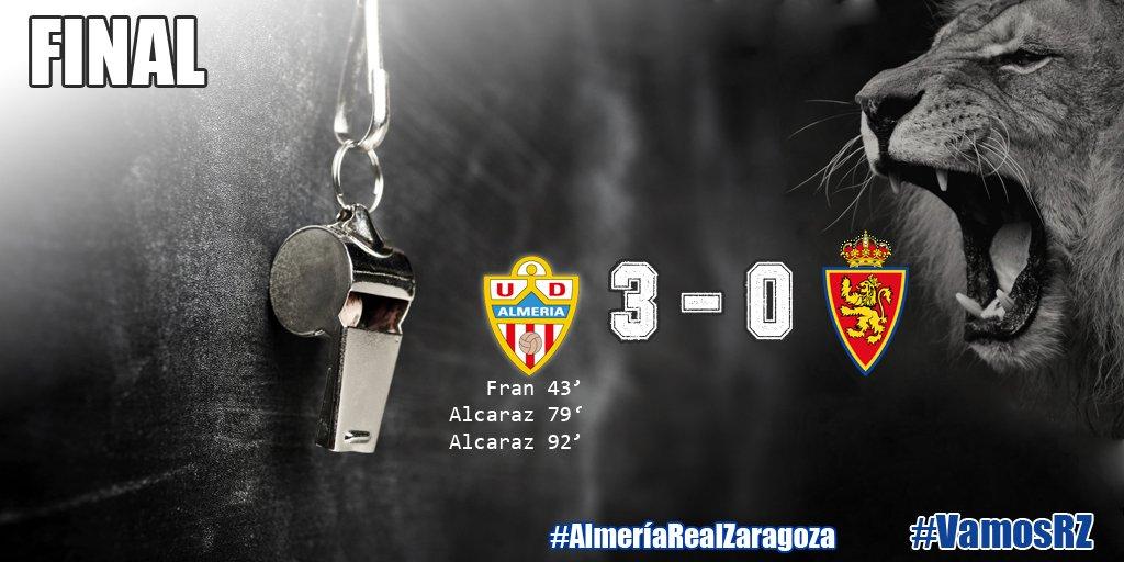 93' | 3-0 | Final del partido. Derrota del Real Zaragoza en Almería.#AlmeríaRealZaragoza