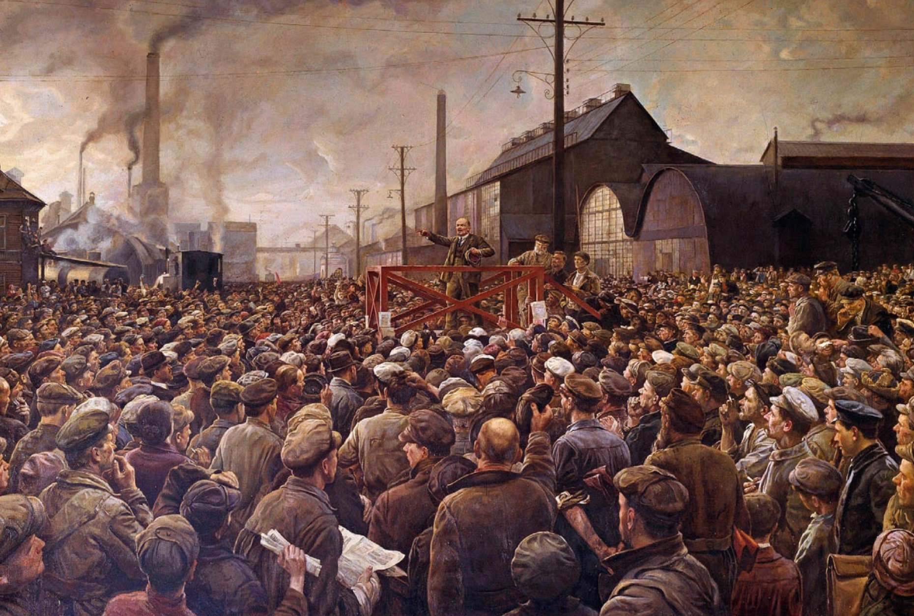 #EkimDevrimi100Yaşında  Isaac Izrailevitch Brodsky'nin fırçasından Lenin'in Poutilov grevcilerine hitabı (1917) https://t.co/5S4zlgTMOl