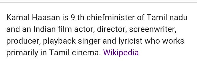 Happy Birthday Kamal Haasan and Wikipedia already says he is 9th Chief minister of Tamil nadu...