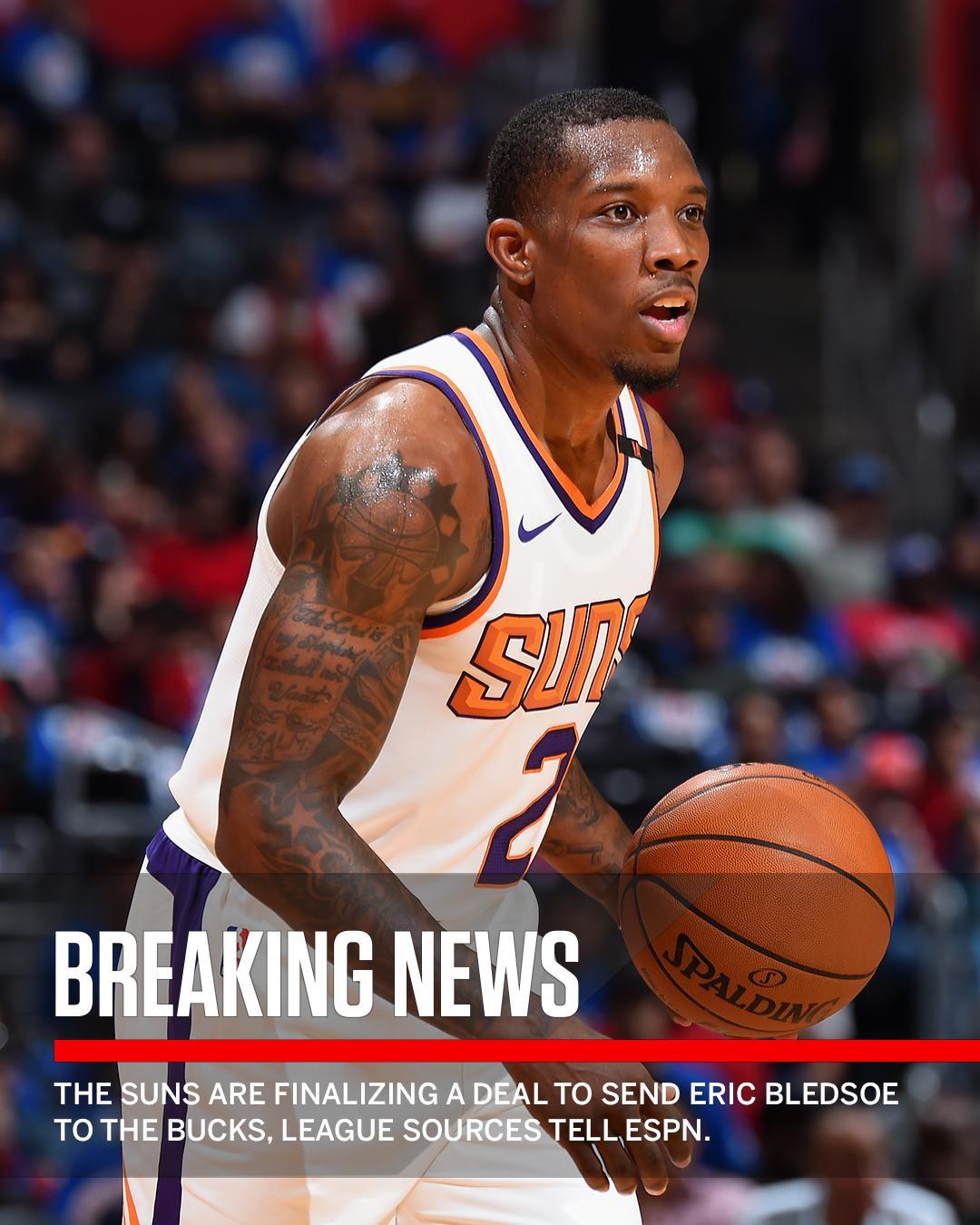 Breaking: Eric Bledsoe is headed to Milwaukee. (via @ZachLowe_NBA & @wojespn) https://t.co/d9oP6zTbTk