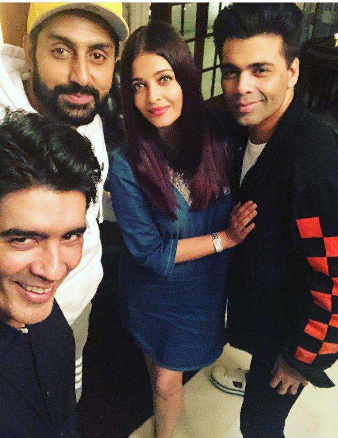 Selfie Time: @ManishMalhotra clicks a selfie with @juniorbachchan, #AishwaryaRaiBachchan & @karanjohar! https://t.co/EUULXOPpcp
