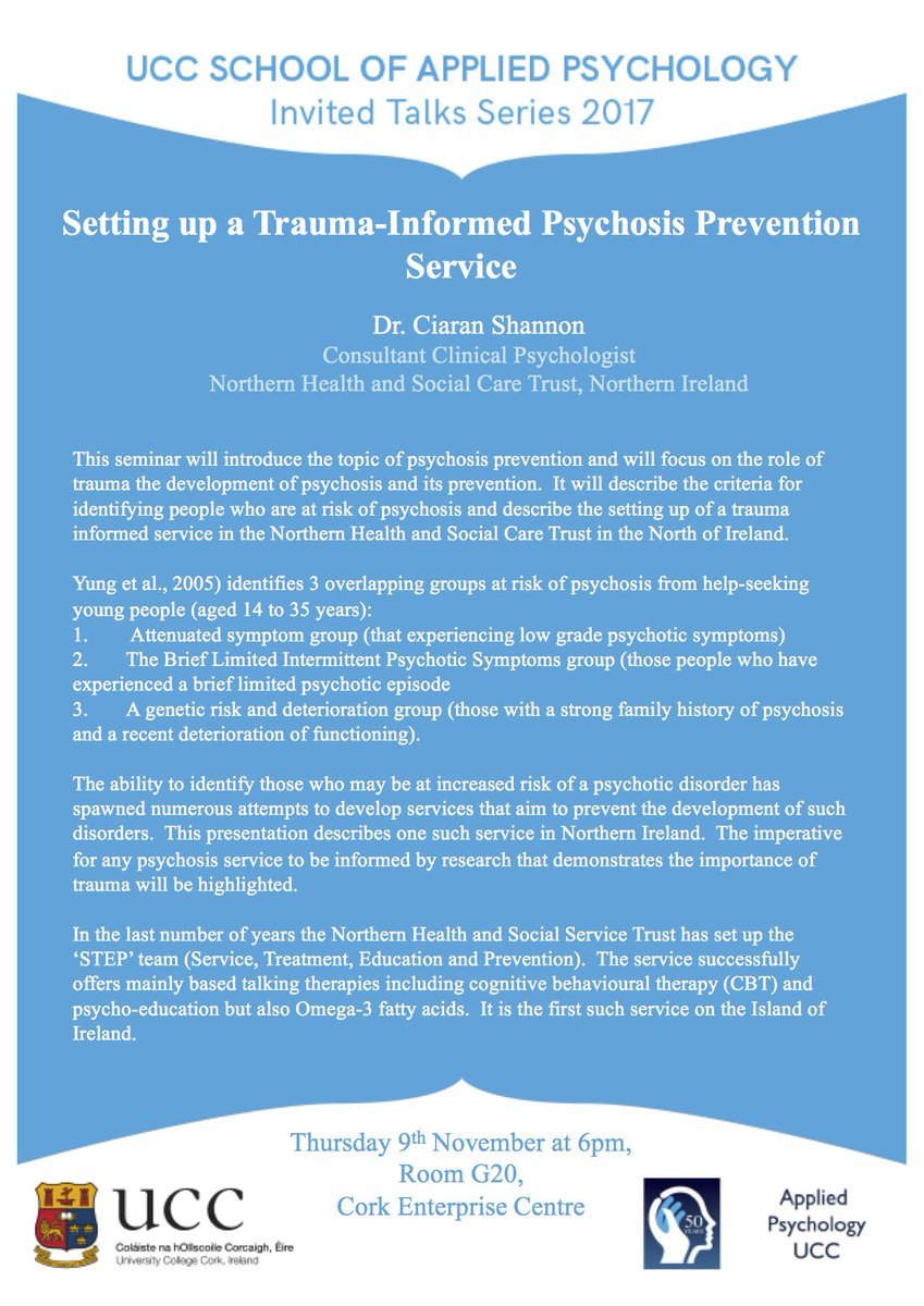 "test Twitter Media - Reminder: Invited talk this evening on ""Setting up a Trauma-Informed Psychosis Prevention Service"" is open to everyone interested. Room G20 in the enterprise centre building at 6pm. Details in the flyer https://t.co/3yKdHZCSzu"