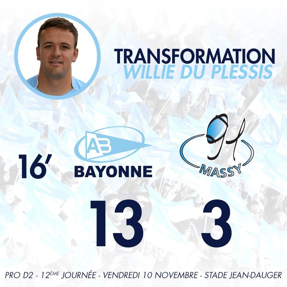 16' C'est transformé sans problème par Du Plessis ! L'Aviron mène 13-3 #ABRCME https://t.co/k5sJJfj7dR