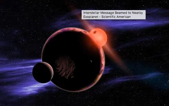 test Twitter Media - Astronomers have beamed a message to a nearby exoplanet. The radio signal directed at the world 12 light-years away included music and math lessons from Earth. https://t.co/11DFy8hJkA https://t.co/rvqCvmmiVK