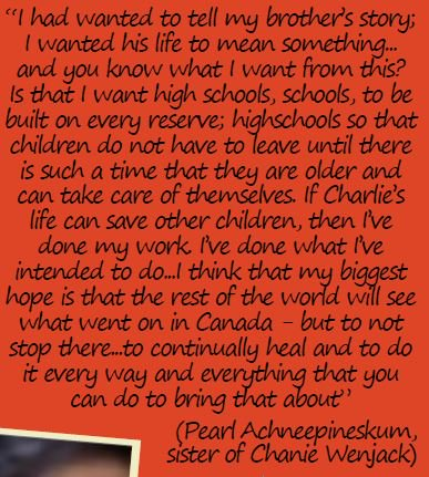 "Pearl Achneepineskum sister of Chanie Wenjack quote: ""I think that my biggest hope is that the rest of the world will see what went on in Canada, but to not stop there...to continually heal and to do it every way and everything that you  can..."" Please RT to honour @downiewenjack https://t.co/rEH0kk8LN9"
