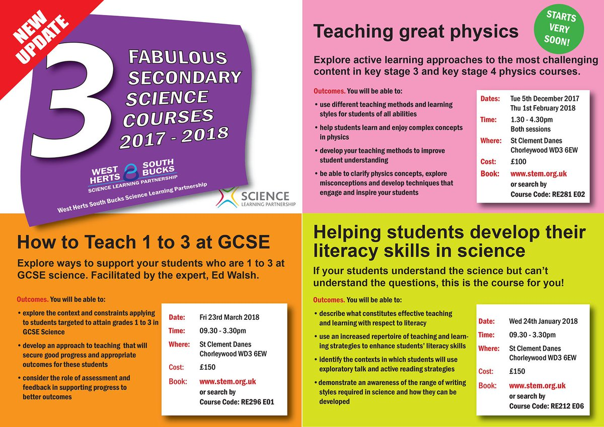 We haven't forgotten that Secondary Schools need Science CPD too! If your students understand the Science but can't understand the questions, then our Science Literacy course is for you! Book on via our website https://t.co/mr9HeYJ7tg https://t.co/SW9RRszKko