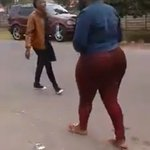 Crazy LADY goes ga ga at another LADY's big NYASH in public - Madness (VIDEO)