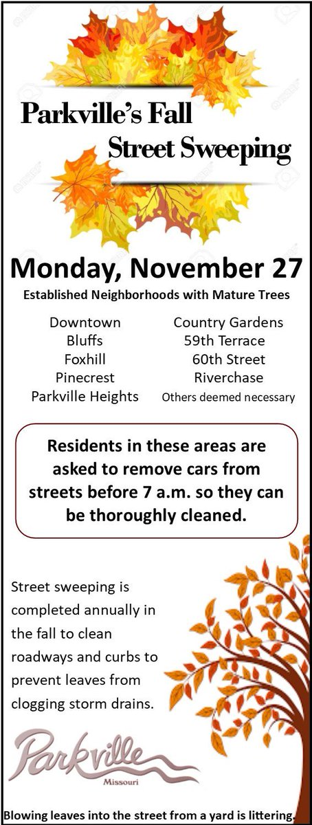 test Twitter Media - Street sweeping begins Monday 11/27 @parkvillemo downtown, Bluffs, Foxhill, Pinecrest, Parkville Heights, Country Gardens, 59th Ter & 60th St to help keep leaves out of storm drains. Blowing leaves from yard into street is littering. Residents asked to move cars off street by 7am https://t.co/Al2TUPJGJi