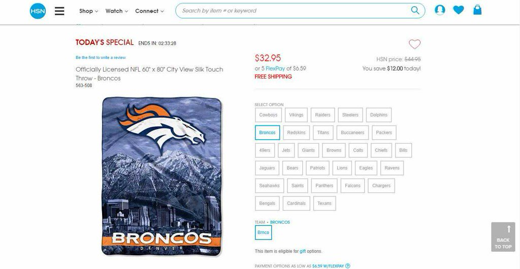 Home Shopping Network tries to sell 'Broncos blanket' with wrong skyline