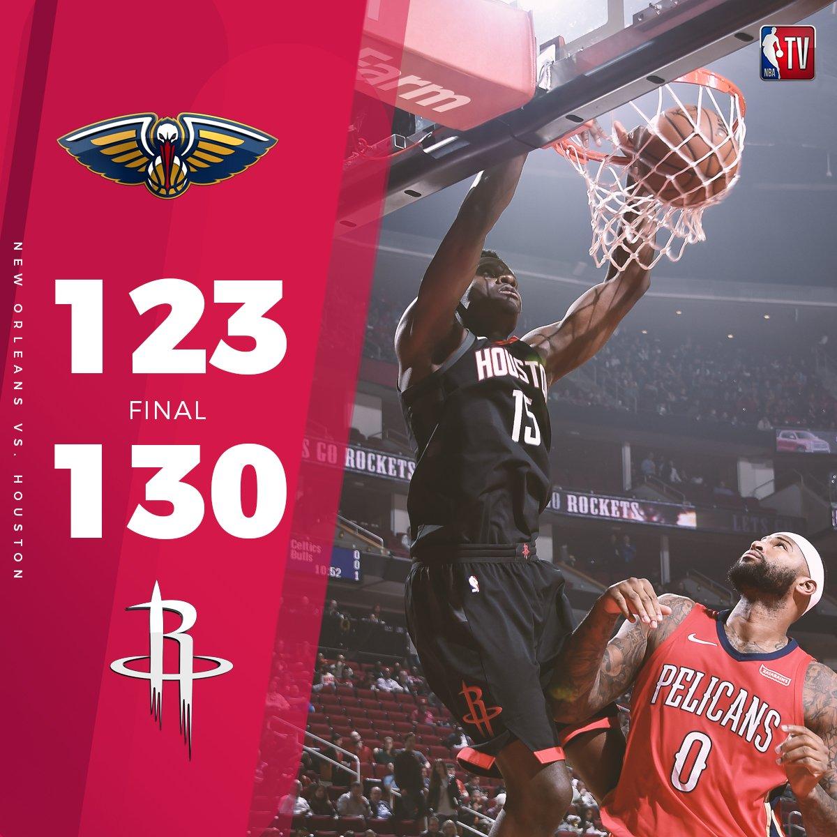 .@CapelaClint (28p/8r) and the @HoustonRockets roared back at home for the comeback win over the Pelicans! �� https://t.co/q7zyLPrzPA
