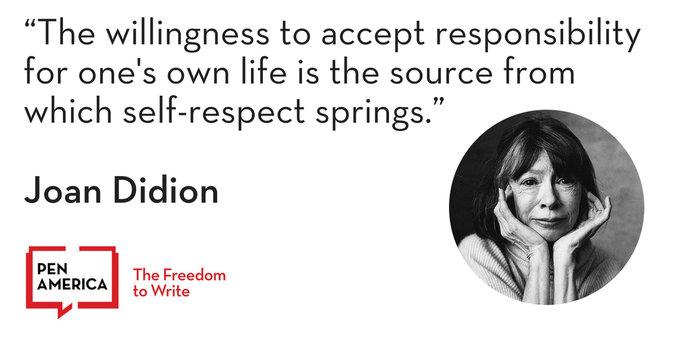 Happy birthday, Joan Didion. Great writing is a great responsibility.