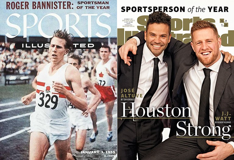 SI's first Sportsman of the Year cover (from 1954) and this year's cover. https://t.co/NU3y6qGqNZ