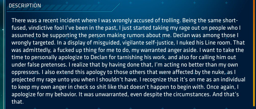 test Twitter Media - Public apology in an MMO. It's interesting to see how a community of anonymous players in a game regulates itself and its members. #resnetsem https://t.co/ybcKwCUKeU
