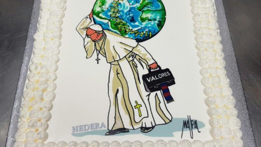 Cake for 'joyful' pope on his 81st birthday