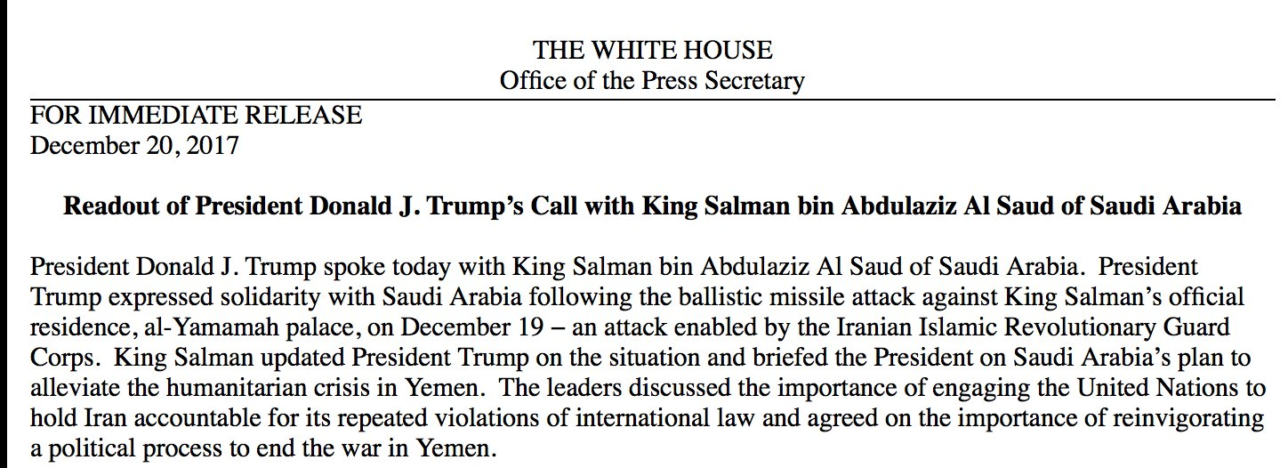 Readout of President Donald J. Trump's Call with King Salman bin Abdulaziz Al Saud of Saudi Arabia https://t.co/ScWjTxsbA9