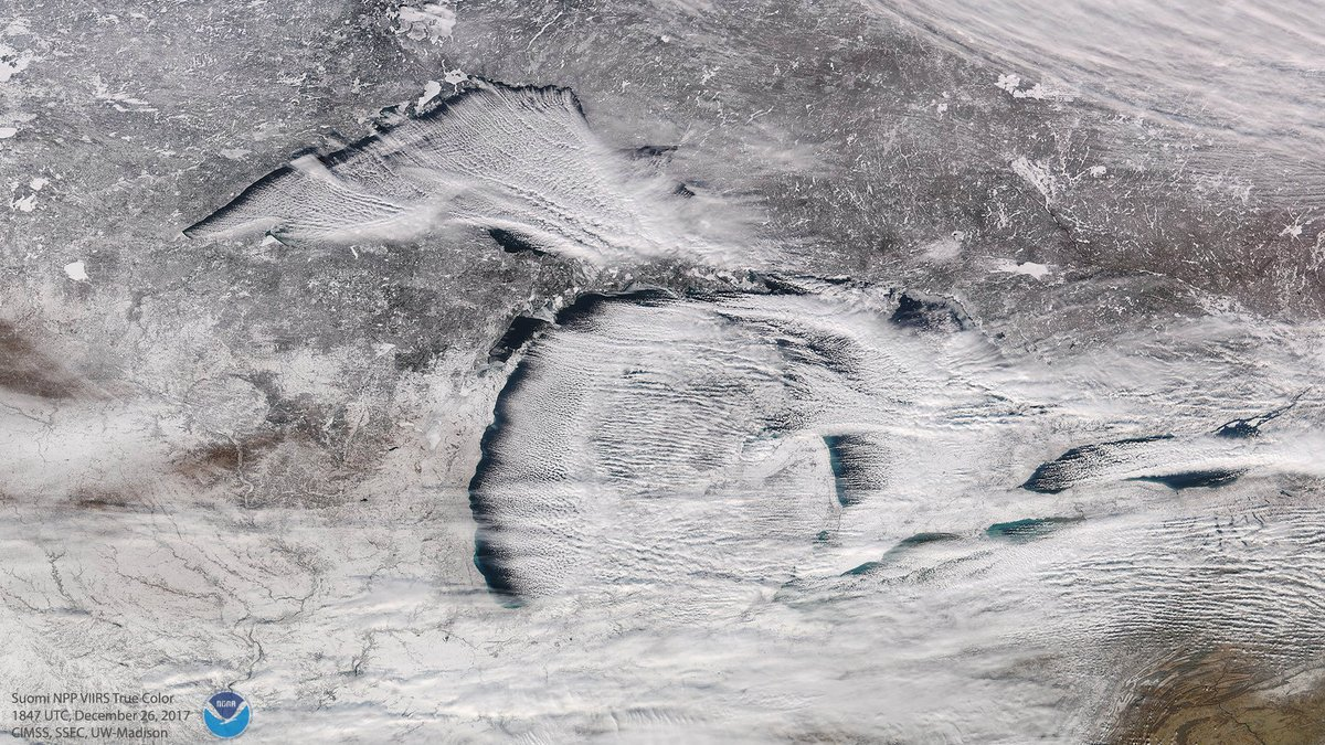Satellite image shows lake effect snow clouds over Michigan