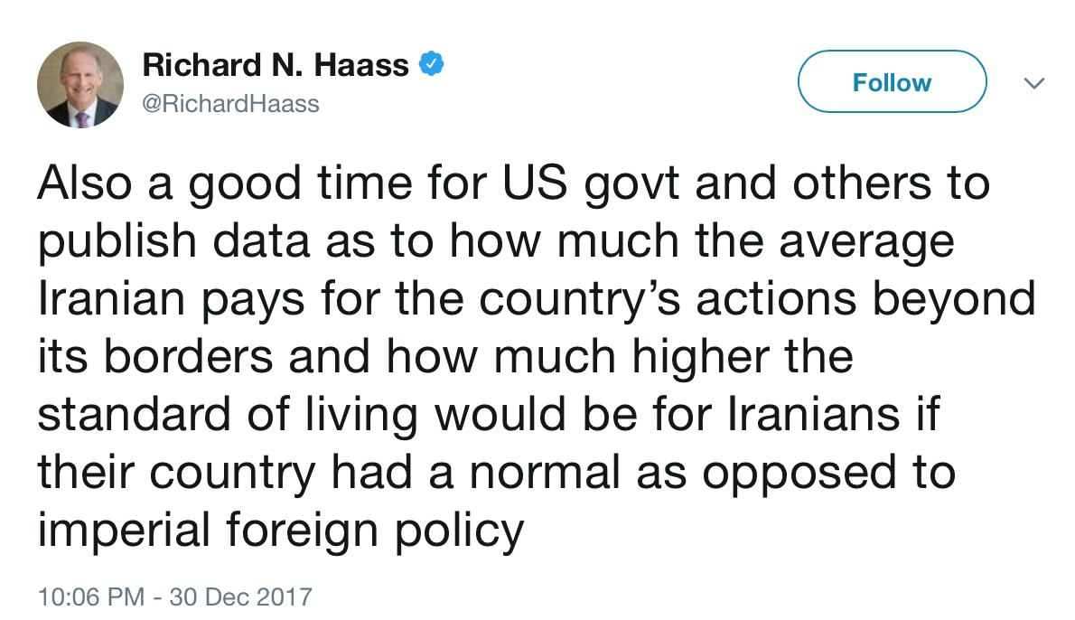 """Richard Haass, head of the Council on Foreign Relations, wants us to educate Iranians about the cost of their """"imperial foreign policy.""""  In a 2000 speech called """"Imperial America"""" Haass said the US needed an """"imperial foreign policy"""" & was worried we wouldn't spend enough on it."""
