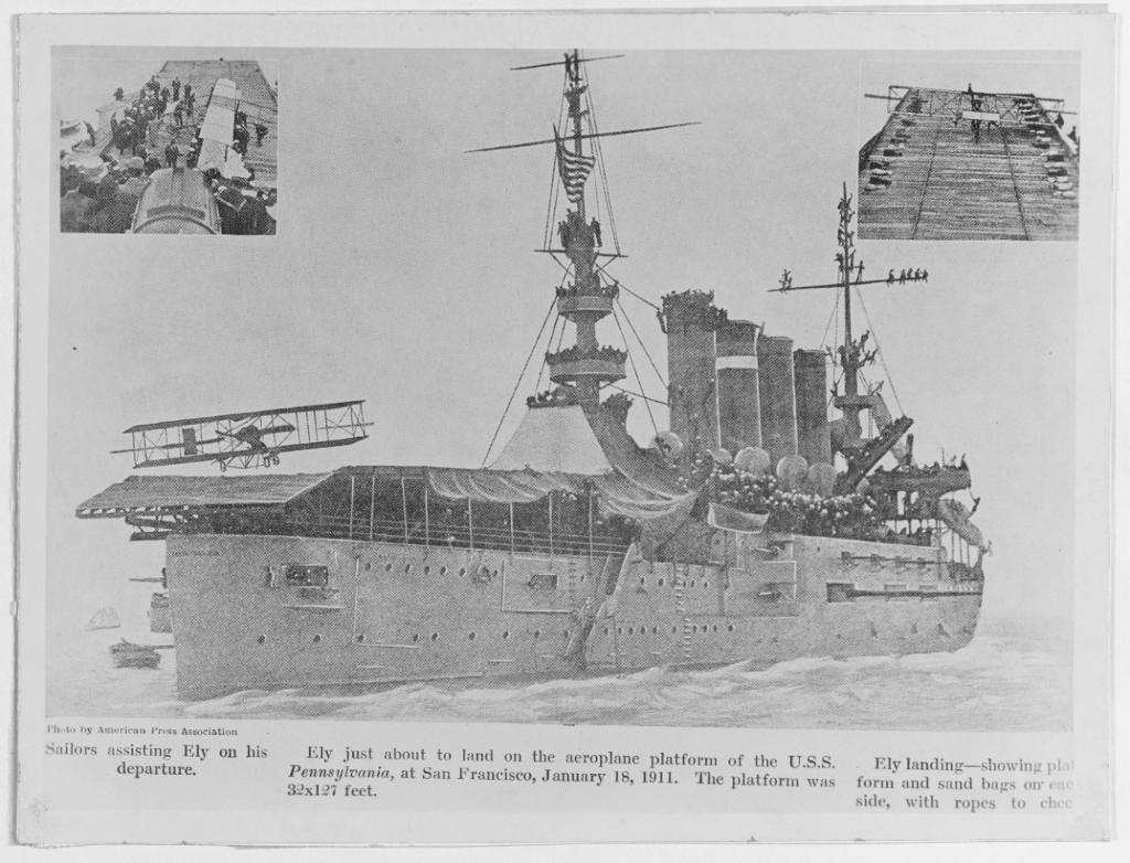 .@USNHistory #TBT #OTD 1911: Eugene Ely lands first aircraft aboard a ship, armored cruiser USS Pennsylvania. https://t.co/Wemp2fVdO4