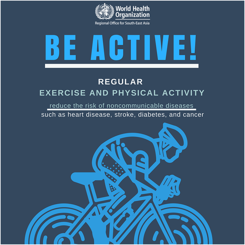 test Twitter Media - Be active!  🤸🏽‍♀️⛹🏽‍♂️🤾🏽‍♀️🏊🏽‍♂️🚴🏽‍♀️  Regular exercise and #PhysicalActivity reduce the risk of noncommunicable diseases such as heart disease, #stroke, #diabetes and #cancer https://t.co/mT2vrmWTAX