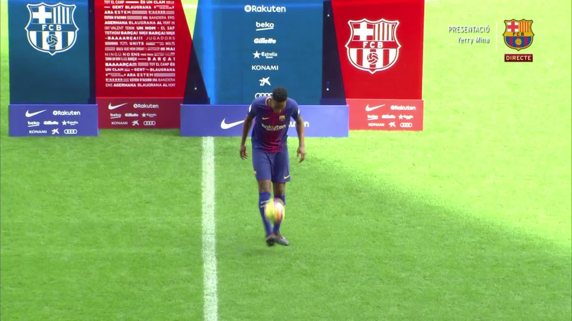 �� Camp Nou  ⚽ Yerry Mina ������  #BeBarça #ForçaBarça https://t.co/5pRbOxgsfb