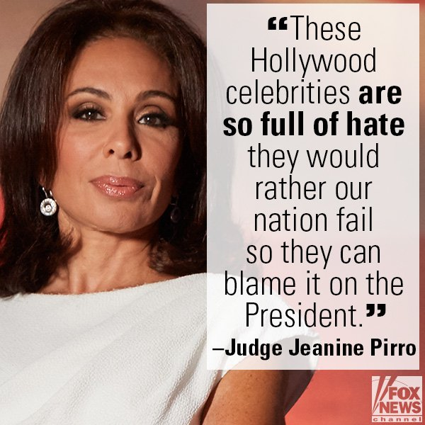 .@JudgeJeanine Blasts De Niro, Sean Penn: Anti-Trump 'Hatred Like This Puts Us in Danger' https://t.co/fbDCZNdnhJ https://t.co/rbVaPwCzMY