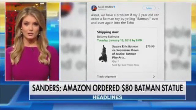 Hilarious! Sarah Huckabee Sanders calls out Amazon after Alexa orders $80 Batman statue https://t.co/GQtOkNi3bN