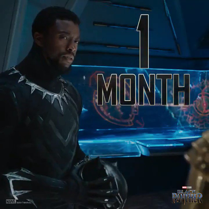 RT @theblackpanther: One month until #BlackPanther. https://t.co/XY2nqn5Md4