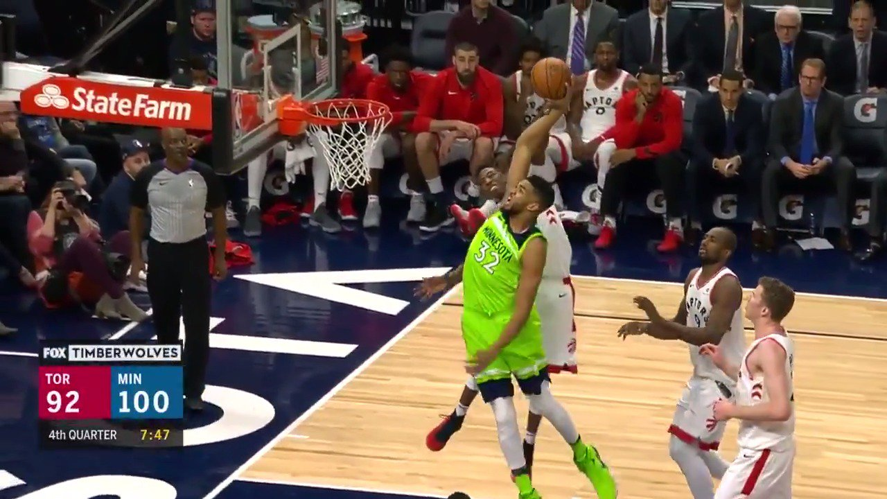 The ball wasn't even going to get in the way of KAT throwing it down!  #AllEyesNorth https://t.co/QcELyR3dYf