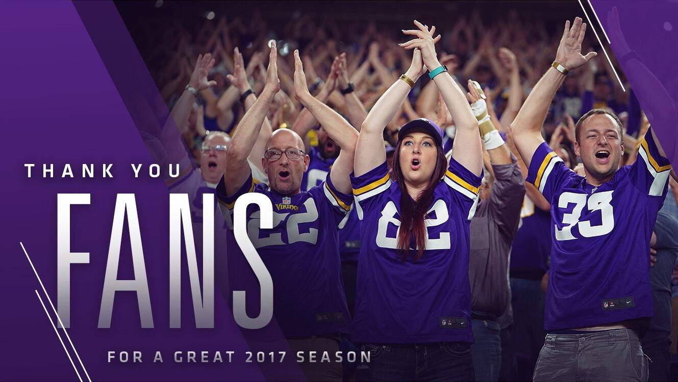 Through all of the ups and downs in an incredible season, we appreciate your support!  #Skol https://t.co/kWsFmNqTD8