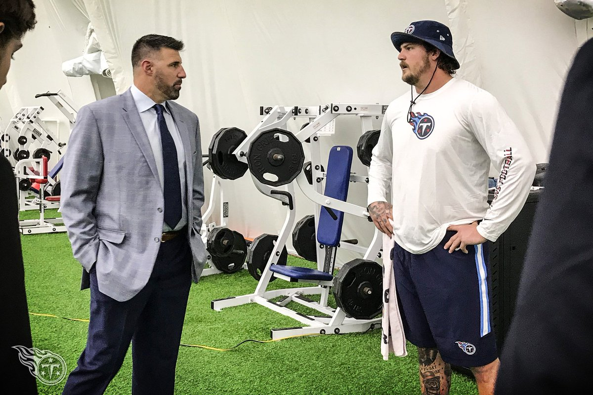 Taylor Lewan meets his new head coach. #TitanUp https://t.co/YISMSwyEC0