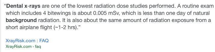 @FromTheLabBench I suppose they're working on risk (radiation) vs reward (early detection of dental issues).  But there is probably a financial benefit to them there somewhere.   Of course, you choose. https://t.co/DwlvohRUD8