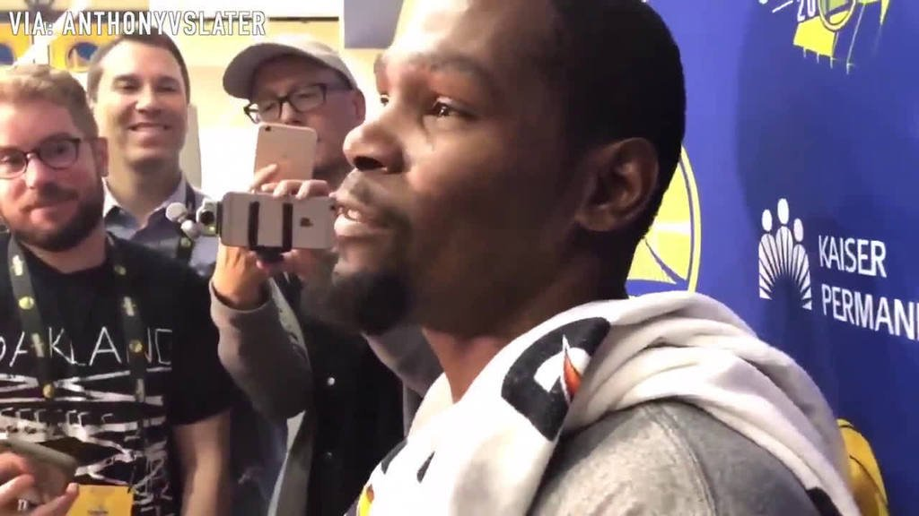 "KD on if he gets picked by LeBron for the All-Star game: ""I'm prepared to switch out on Steph in the pick-and-roll, force him to the rim, and block his shot. I'm looking forward to that."" https://t.co/va2HnOFCsb https://t.co/aLWi8dys2Z"