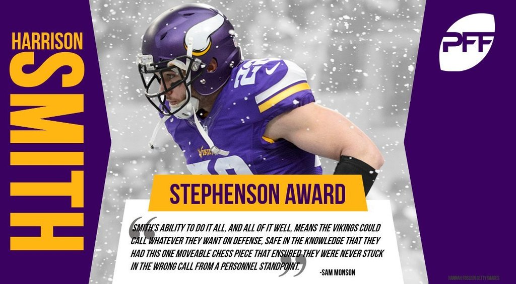 PFF: The Stephenson Award is the most prestigious award we give out here at PFF. Awarded to the best player in football, this year the award goes to Harrison Smith of the Vikings https://t.co/r10GnOmEA4 https://t.co/4YX0QxoWtl