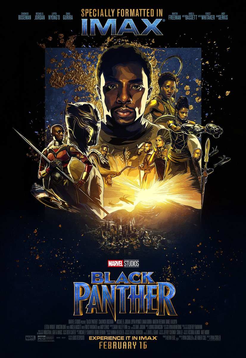 RT @chadwickboseman: The new @IMAX poster just dropped. The King arrives to #IMAX 2/16! #BlackPanther https://t.co/0hoBLS2W7e