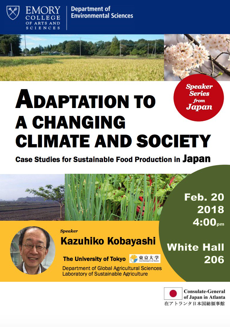"test Twitter Media - The Consulate-General of Japan in Atlanta and the Dept. of Environmental Sciences are hosting a talk with Professor Kazuhiko Kobayashi from the University of Tokyo on ""Adaption to a Changing Climate and Society."" Tuesday, February 20 at 4pm in White Hall room 2016 https://t.co/Sl5K7Ncys9"