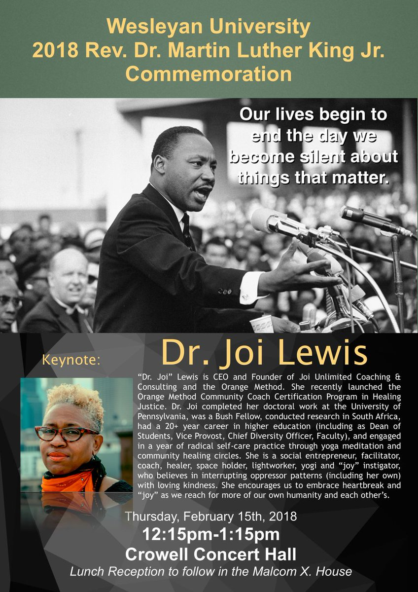 "test Twitter Media - RT @Wes_engage: This year's @wesleyan_u MLK Commemoration will feature Dr. Joi Lewis of @joiunlimited : ""From Hollering to Healing: Black to the Future."" 2/15, 12:15, Crowell #BlackHistoryMonth https://t.co/wouA3CADH3"