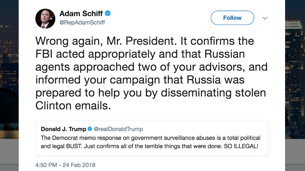 Schiff hits back at Trump claim Dem memo is a 'bust': 'Wrong again, Mr. President' https://t.co/OkB51O7EER https://t.co/dZgSBU4CI8
