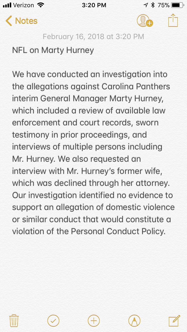 Here is the @NFL's statement on interim #Panthers GM Marty Hurney and the investigation that is now closed https://t.co/wb2PiS03uw